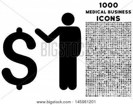 Banker vector icon with 1000 medical business icons. Set style is flat pictograms, black color, white background.