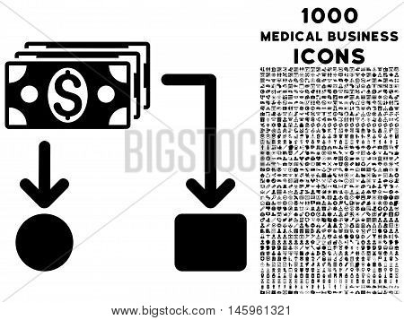 Cashflow vector icon with 1000 medical business icons. Set style is flat pictograms, black color, white background.