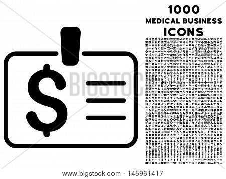 Dollar Badge vector icon with 1000 medical business icons. Set style is flat pictograms, black color, white background.