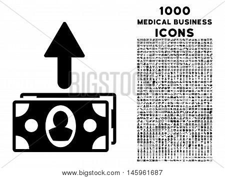 Spend Banknotes vector icon with 1000 medical business icons. Set style is flat pictograms, black color, white background.
