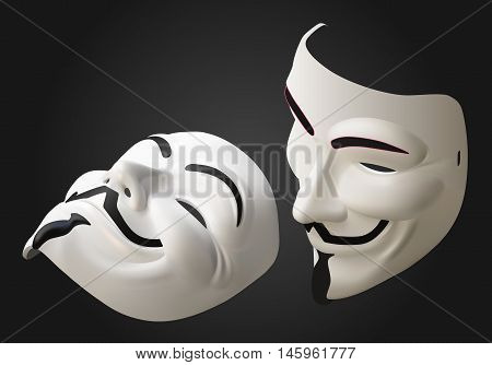 anonymous hacker mask isometric flat vector 3d illustration isolated on white background