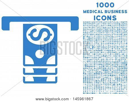 Banknotes Withdraw vector icon with 1000 medical business icons. Set style is flat pictograms, cobalt color, white background.