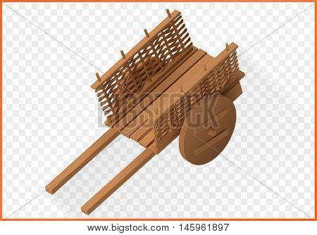wooden wheelbarrow isometric. Wain vector 3d illustration. Cart isolated on white background