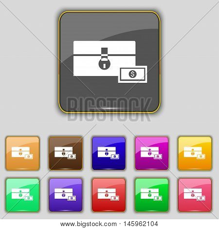 Chest Icon Sign. Set With Eleven Colored Buttons For Your Site. Vector