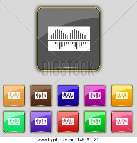 Equalizer Icon Sign. Set With Eleven Colored Buttons For Your Site. Vector
