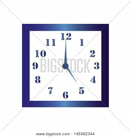 Isolated wall square clock. Vector illustration on white background. Five hours. Five o'clock. 5 o'clock