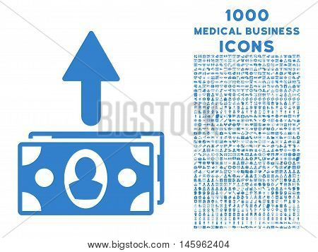 Spend Banknotes vector icon with 1000 medical business icons. Set style is flat pictograms, cobalt color, white background.