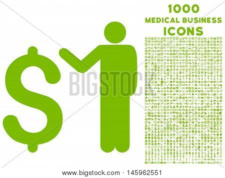 Banker vector icon with 1000 medical business icons. Set style is flat pictograms, eco green color, white background.