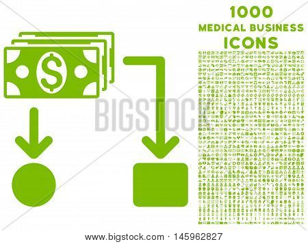 Cashflow vector icon with 1000 medical business icons. Set style is flat pictograms, eco green color, white background.