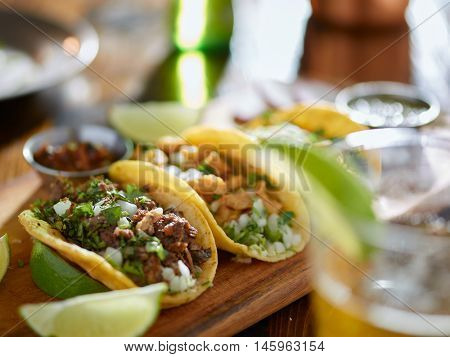 mexican street tacos and beer