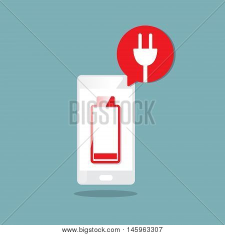 low battery icon alert with smartphone vector illustration