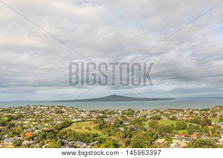 The view point of Rangitoto Island from Mount Victoria reserve Devonport Auckland New Zealand.