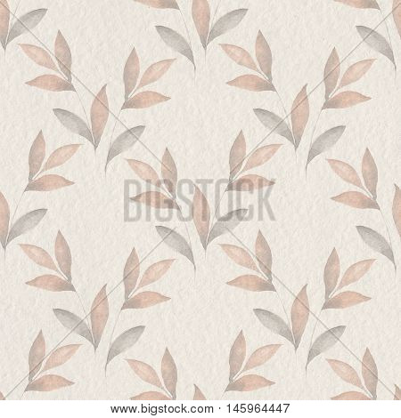 Delicate floral background on paper texture. Seamless pattern 60. Watercolor painting