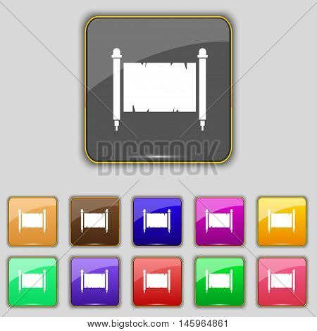 Ancient Parchment Sheet Of Paper Sign. Set With Eleven Colored Buttons For Your Site. Vector