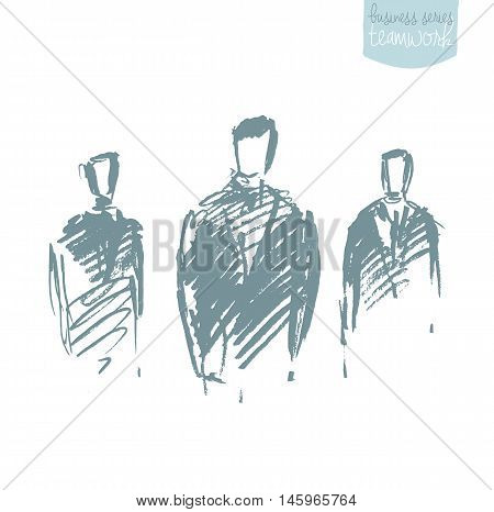 Standing businessman. Concept vector illustration, sketch drawn