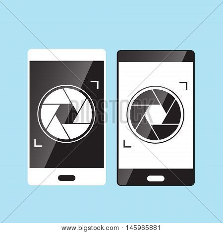 camera shutter icon on smartphone vector illustration