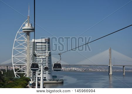 LISBON, PORTUGAL - AUG 21: Telecabine Lisboa at Parque das Nacoes (Park of Nations) in Lisbon, Portugal, as seen on Aug 21, 2016. The cable cars overlook the Vasco da Gama bridge on the Tagus river.