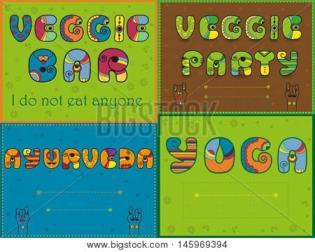 Inscriptions by artistic font for greeting and invitation cards. Veggie bar. Veggie party. Ayurveda. Yoga. Cartoon hands looking at each other. Place for custom text. Vector illustration. EPS 8