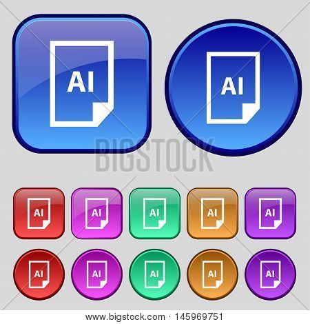 File Ai Icon Sign. A Set Of Twelve Vintage Buttons For Your Design. Vector