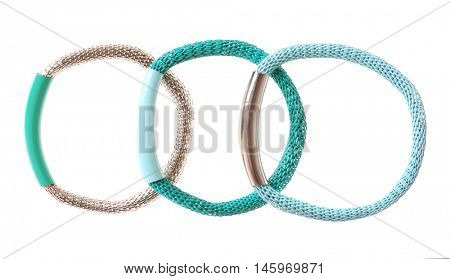 Hair bands on white background