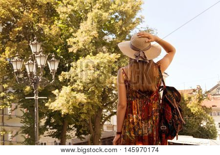 travel guide tourism in Europe woman tourist in hat