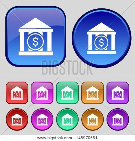 Bank Vector Icon Sign. A Set Of Twelve Vintage Buttons For Your Design. Vector