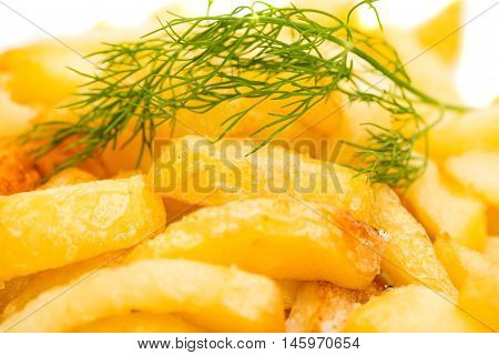 French fries  lunch on a white backgroun