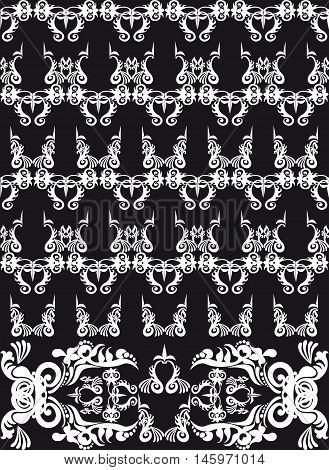 floral pattern with frieze, black and white