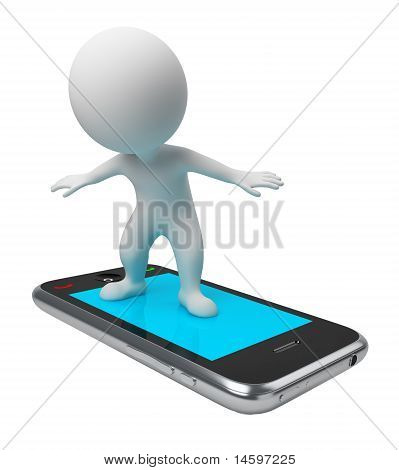 3D Small People - Flight On Phone