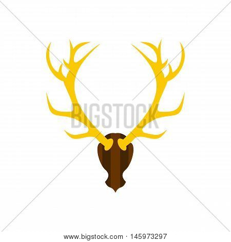 Deer antler icon in flat style isolated on white background. Trophy symbol vector illustration
