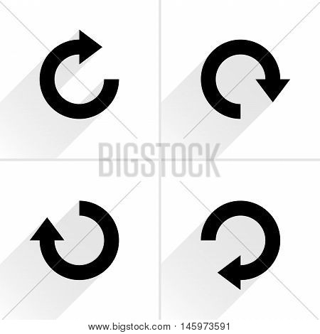 4 arrow icon refresh rotation reset repeat reload sign set 03. Black pictogram with gray long shadow on white background. Simple plain solid flat style. Vector illustration web design 8 eps