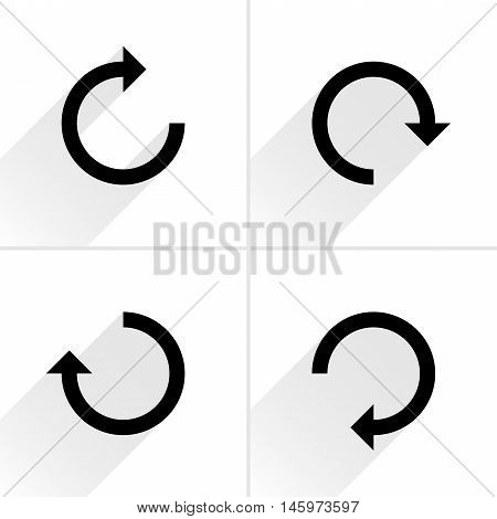 4 arrow icon refresh rotation reset repeat reload sign set 02. Black pictogram with gray long shadow on white background. Simple plain solid flat style. Vector illustration web design 8 eps