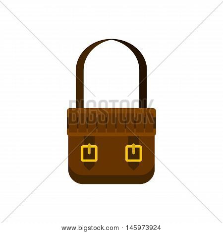 Shoulder bag icon in flat style isolated on white background. Handbag symbol vector illustration