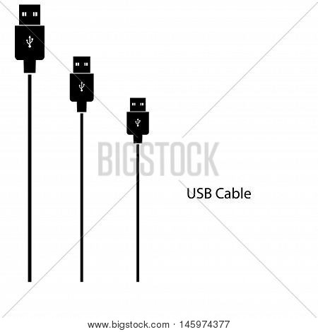 Mini USB. cable isolated on white background clipping paths