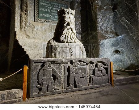 KRAKOW, POLAND - APRIL 04, 2015: Chapel in Wieliczka salt mine near Krakow in Poland on April 04, 2015.