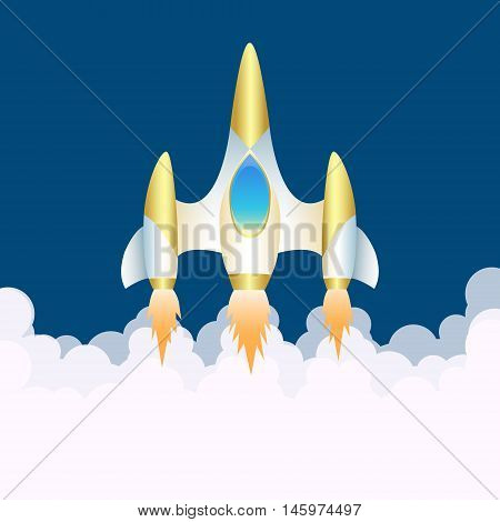 Spaceship. The launch. Cartoon style. Vector Image.