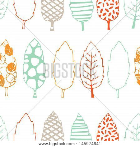 Leaves hand drawn vector seamless pattern. Black white orange blue graphic design. Abstract foliage for your design. Doodle sketch. Vector illustration.