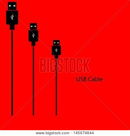 USB a cable on a red background. Vector illustration