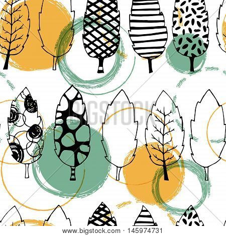 Leaves hand drawn vector seamless pattern. Black white orange blue graphic design. Abstract foliage for textile, background, clothes and so on. Doodle sketch. Vector illustration.