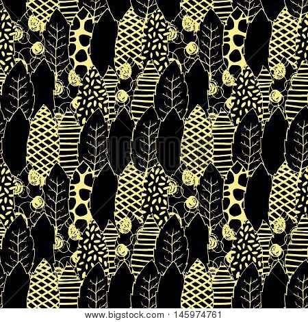 Leaves hand drawn vector seamless pattern. Black and yellow graphic design. Abstract foliage for textile, background, clothe and so on. Doodle sketch. Vector illustration.