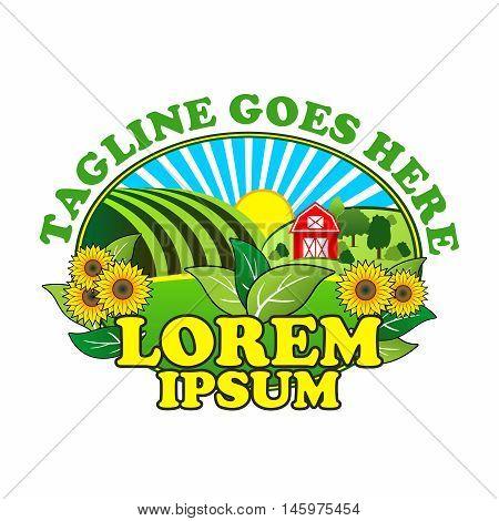 Vector Creative Colorful Agriculture, Horticulture, Farming, Fresh Market Mascot Logo Design Template