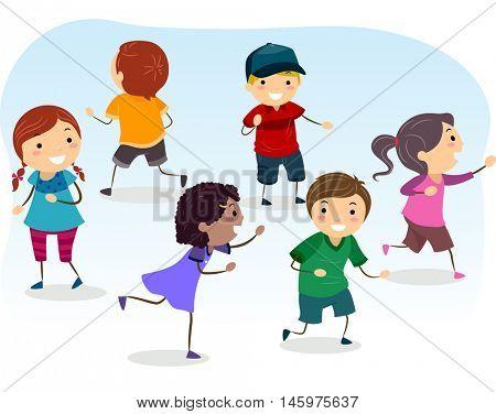 Stickman Illustration of Kids Playing Tag