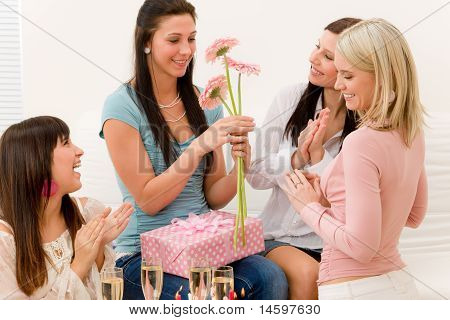 Birthday Party - Woman Getting Present And Flower