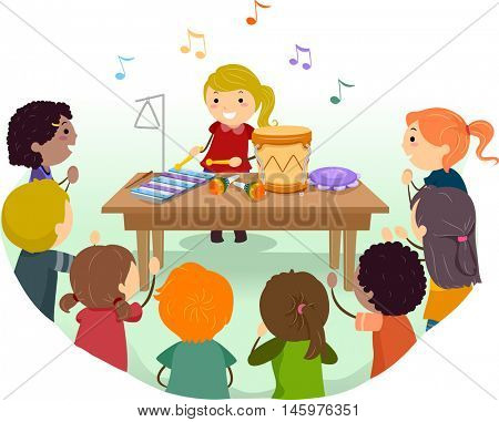 Stickman Illustration of Kids Playing Musical Instruments in Class