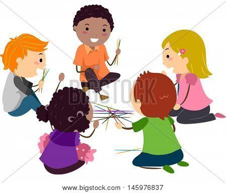 Stickman Illustration of Kids Playing Pick Up Sticks