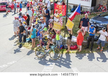 Col du Glandon France - July 23 2015: The Dutch cyclist Bram Tankink of Lotto NL-Jumbo Team riding on the road to Col du Glandon in Alps during the stage 18 of Le Tour de France 2015.