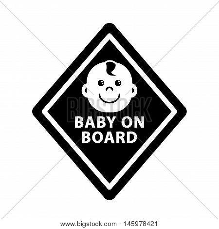 Baby on board sign on black rhombus monochrome symbol outline icon flat vector illustration
