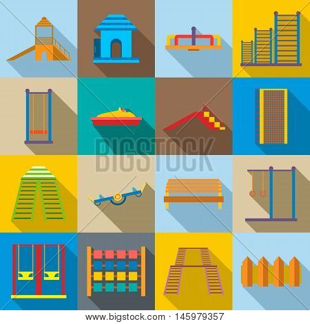 Children playground icons set in flat style. Kids playground elements set collection vector illustration