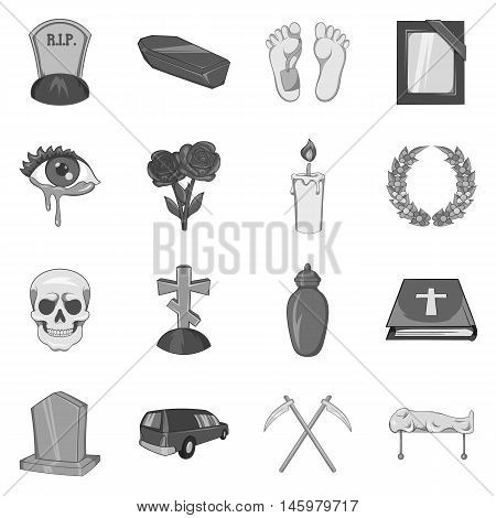 Funeral icons set in black monochrome style. Death and burial set collection vector illustration