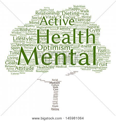 Vector concept or conceptual mental health or positive thinking abstract tree word cloud isolated on background